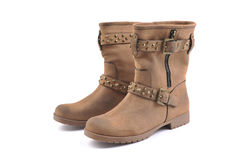 Paia degli stivali di cuoio marroni delle donne Fotografia Stock Libera da Diritti