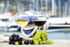 Paia dei bicchieri di vino e dell'uva Fotografia Stock Libera da Diritti
