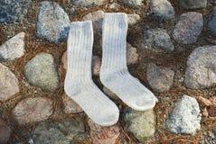 Paia dei calzini della lana Fotografia Stock Libera da Diritti