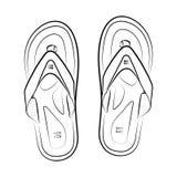 Paia dei Flip-flop, attributo di vacanza di ora legale, pantofole, scarpe, illustrazione in bianco e nero di vettore di stile di  royalty illustrazione gratis