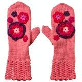 Paia dei guanti di rosa Hand knitted fotografie stock
