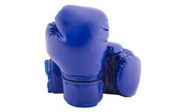 Paia dei guantoni da pugile protettivi blu Fotografia Stock