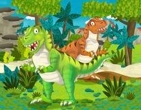 Paia del fumetto dell'illustrazione dei tyranosauruses dei dinosauri per i bambini Fotografie Stock Libere da Diritti