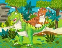 Paia del fumetto dell'illustrazione dei tyranosauruses dei dinosauri per i bambini Immagine Stock