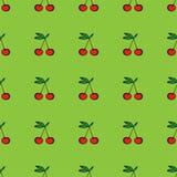 Paia del modello senza cuciture delle ciliege su verde Fotografia Stock Libera da Diritti