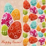 Paia delle carte di pasqua con le uova dipinte Immagini Stock