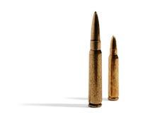 Paia delle pallottole del fucile sopra bianco Fotografia Stock Libera da Diritti