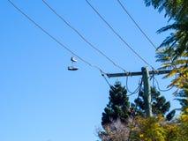 Paia delle scarpe che pendono dal cavo elettrico contro il cielo blu fotografie stock