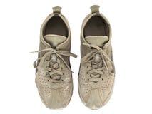 Paia delle scarpe da tennis consumate isolate su bianco Fotografia Stock Libera da Diritti
