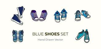 Paia delle scarpe delle scarpe da tennis isolate Insieme disegnato a mano dell'illustrazione di vettore delle scarpe blu Stivali  royalty illustrazione gratis