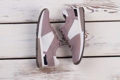 Paia delle scarpe da tennis rosa d'argento Immagini Stock