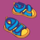 Paia delle scarpe di estate della ragazza Fotografia Stock