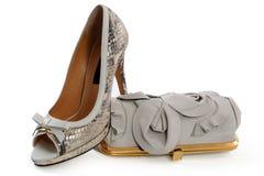 Paia delle scarpe e della borsa delle donne Fotografia Stock