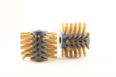Paia delle spazzole metalliche circolari dal lato fotografie stock libere da diritti