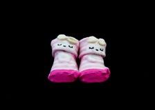 Paia di colore di rosa del calzino del bambino fotografie stock