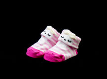 Paia di colore di rosa del calzino del bambino fotografia stock