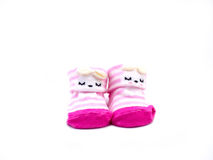 Paia di colore di rosa del calzino del bambino immagini stock libere da diritti