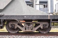 Paia di vista laterale delle ruote del treno Immagini Stock