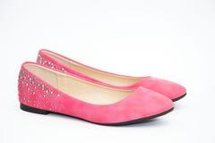 Paia femminili rosa delle scarpe piane Fotografia Stock Libera da Diritti