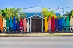 Free PAIA, HI - NOVEMBER 15 2019: Colorful Rainbow  Of Surfboards Line The Outside Of The Aloha Surf Hostel In Paia, Maui, HI Stock Photography - 167001672