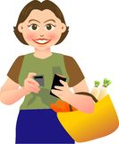 Paid. A lovely mother taking out her card to paid after shopping Royalty Free Stock Images