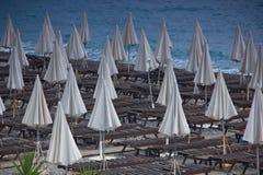 Paid beach on Ligurian sea in nice Stock Photos