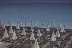 Paid beach on Ligurian sea in nice Royalty Free Stock Photography