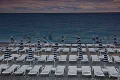 Paid beach on Ligurian sea in nice Royalty Free Stock Images