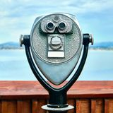 Paid binoculars. Close up on viewer of paid binoculars stock image