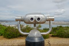 Paid binocular telescope on the tip of the Point Loma Peninsula in San Diego, California, USA. Close image of automated binoculars to observe San Diego city & royalty free stock photos
