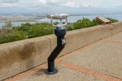 Paid binocular telescope on the tip of the Point Loma Peninsula in San Diego, California, USA. Close image of automated binoculars to observe San Diego city & royalty free stock photo