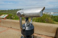 Paid binocular telescope on the tip of the Point Loma Peninsula in San Diego, California, USA. Close image of automated binoculars to observe San Diego city & stock image