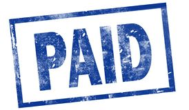 Paid in blue ink stamp stock illustration