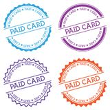 Paid card badge isolated on white background. Flat style round label with text. Circular emblem vector illustration Stock Photography