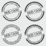 Paid cash insignia stamp isolated on white. Paid cash insignia stamp isolated on white background. Grunge round hipster seal with text, ink texture and splatter Royalty Free Stock Photography