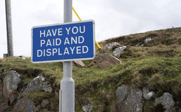 Paid and Displayed - parking sign Stock Photo