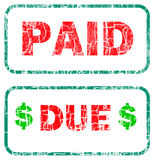 Paid and due stamp sign Stock Photos