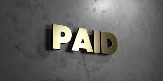 Paid - Gold sign mounted on glossy marble wall  - 3D rendered royalty free stock illustration. This image can be used for an online website banner ad or a Royalty Free Stock Photo