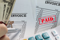 Paid invoice Stock Photo