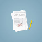 Paid invoice document Stock Images