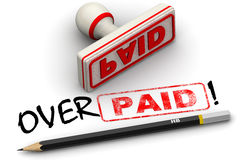 Paid and overpaid. Corrected seal impression Royalty Free Stock Photos
