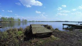 Bridge on the lake for fishing. On paid pond bridge for fishing stock video