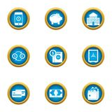 Paid service icons set, flat style. Paid service icons set. Flat set of 9 paid service vector icons for web isolated on white background Stock Photography