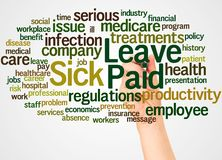 Paid Sick Leave word cloud and hand with marker concept. Paid Sick Leave, word cloud and hand with marker concept on white background stock photos