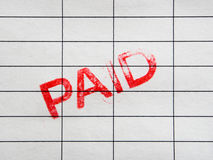 Paid stamp. On accounting invoice or bill royalty free stock images