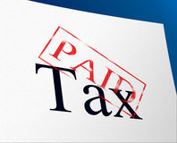 Paid Taxes Represents Confirmation Duties And Excise. Taxes Paid Meaning Paying Settlement And Payment Stock Photography