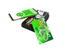 Paiement de NFS par le téléphone avec la carte de crédit verte sur le rendu du Position-terminal 3D de carte de paiement sur le f illustration stock