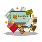 Paiement de salaire de feuille de paie et concept de salaires d'argent dans le style plat illustration libre de droits