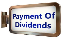Paiement des dividendes sur le fond de panneau d'affichage Photos libres de droits