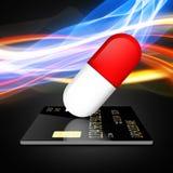Paiement des drogues avec une carte de crédit illustration stock